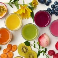 healthy, cleansing fruits and juices